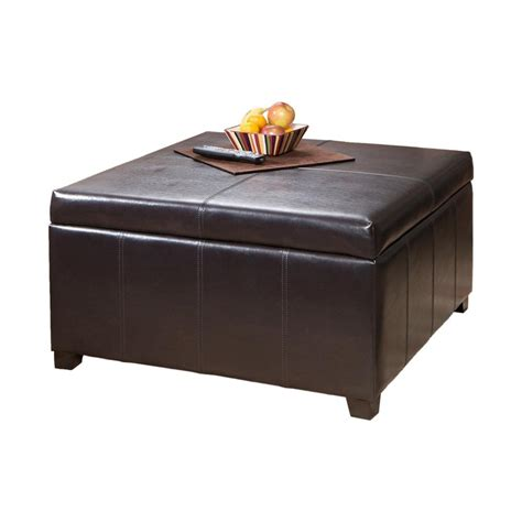 Faux Leather Ottoman Brown Shop Best Selling Home Decor Forrester Brown Faux Leather Ottoman At Lowes