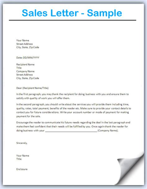 sales letter template writing professional letters