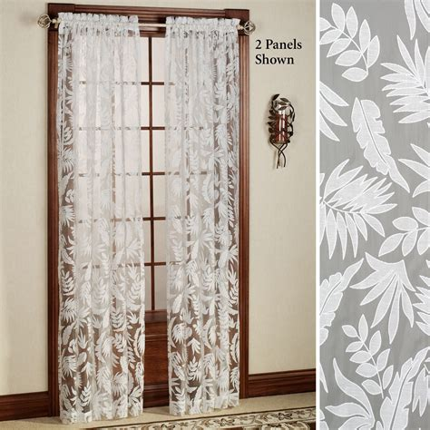curtains sheers and panels tropical leaves burnout sheer curtain panels