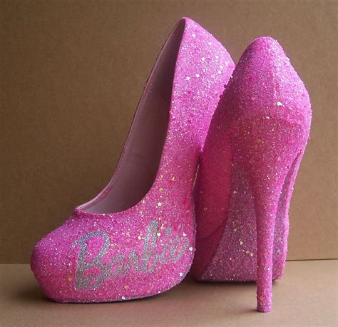 pink glittered high heels by tattooedmary on etsy