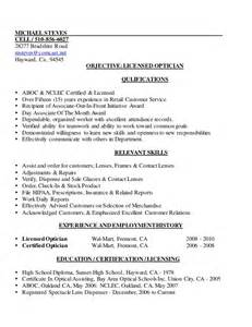 Description Of An Optician by Mike S Licensed Optician Resume 2013