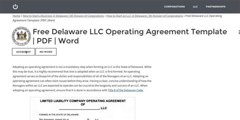 Free Delaware Llc Operating Agreement Template Pdf Word Youtube Delaware Llc Operating Agreement Template