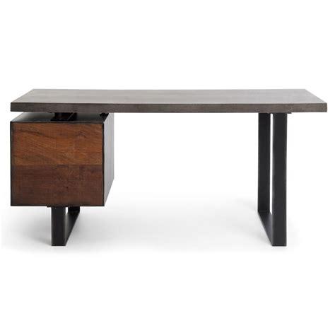 boxcar industrial loft peroba wood grey concrete desk