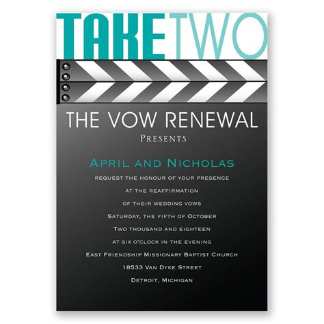 Take Two take two vow renewal invitation invitations by
