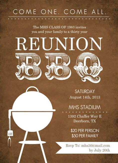 unique class reunion invitations rustic brown bbq class