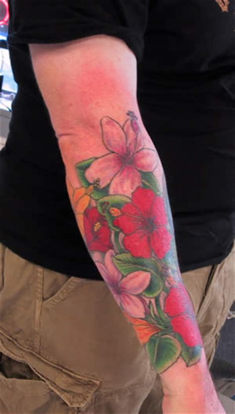 half sleeve tattoos wrist to elbow hibiscus tattoos page 9