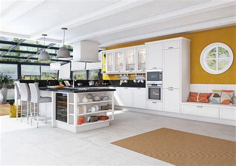 cuisine blanche mur jaune