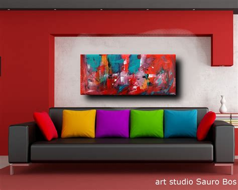 quadri soggiorno quadri astratti informali per soggiorno nero rosso 150x65