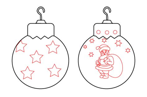draw vintage christmas ornaments balls