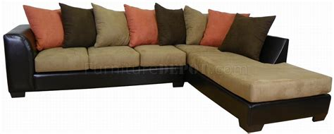 mocha fabric chocolate bicast modern sectional sofa