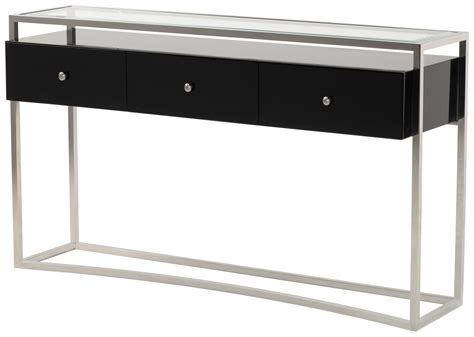 Modern Console Table Design With Glass Top And Stainless