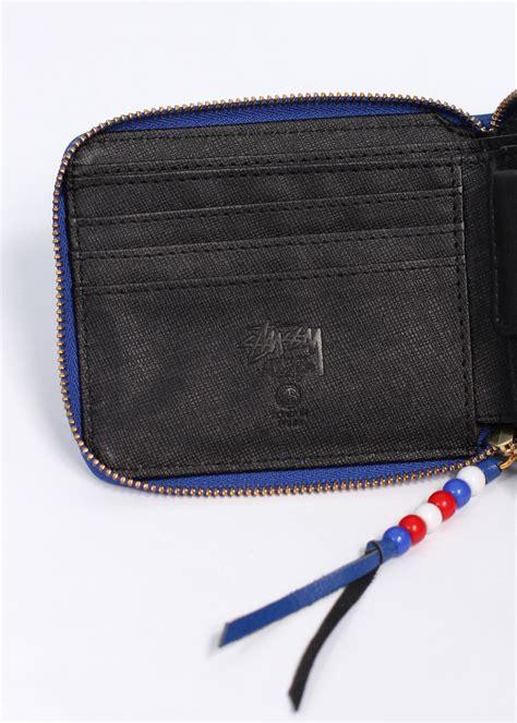 zip bead stussy classic bead zip wallet blue