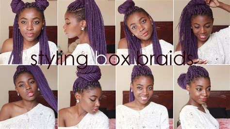 ways you can put braid weave in a donut bun how i style box braids 8 quick hairstyles youtube
