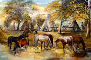 Indian ponies limited edition fine art native american village by
