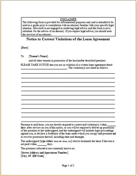 Lease Notice Provision Letter To Correct Violations Of Lease Agreement Word Excel Templates