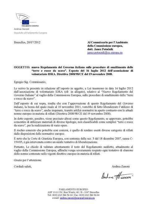 esempi di lettere formali in italiano tav nuova normativa su terre da scavo e materiali di