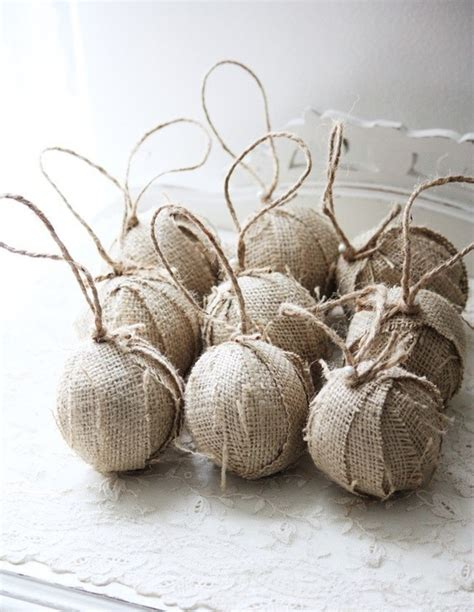 items similar to burlap rag ball christmas tree ornaments set of 9 natural or white now