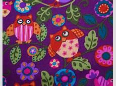 HAPPY OWL fabric pink purple Kawaii style by vintageinspiration