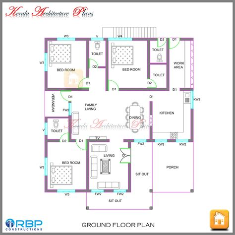 Kerala Style Single Storied House Plan And Its Elevation Home Floor Plans Kerala