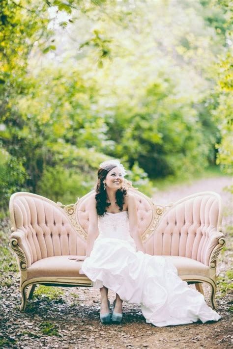 couch photography pink velvet sofa outdoor bridal shoot wedding day a