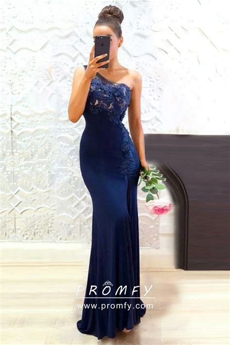 navy blue lace  spandex  shoulder slim mermaid