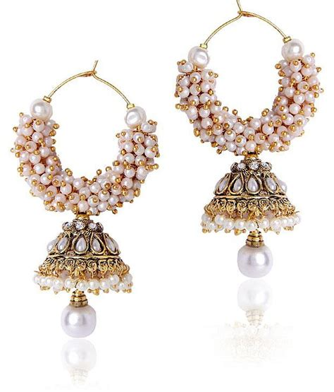 Myntra Home Decor by Women White Beaded Jhumki Earrings At Rs 499 Lowest Online