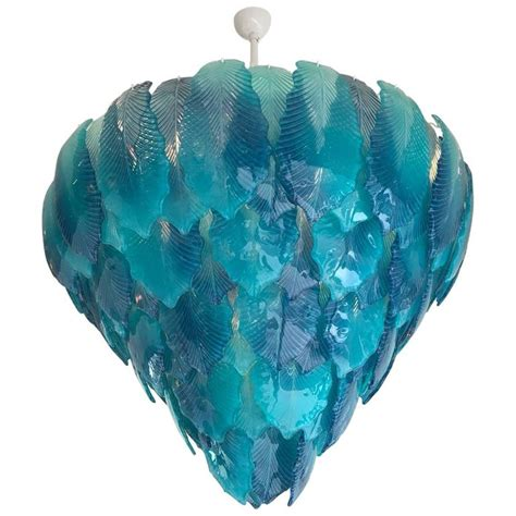 Turquoise Glass Chandelier Modern Turquoise Murano Glass Leaves Chandelier For Sale At 1stdibs