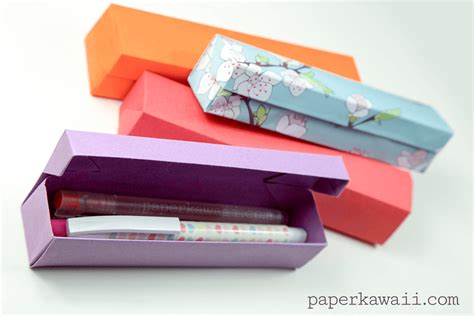 How To Make Pencil Box With Paper - origami pencil box tutorial paper kawaii