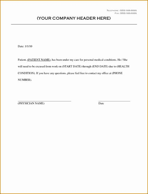 9 Doctor Note Template For Business Sletemplatess Sletemplatess Return To Work Doctors Note Template