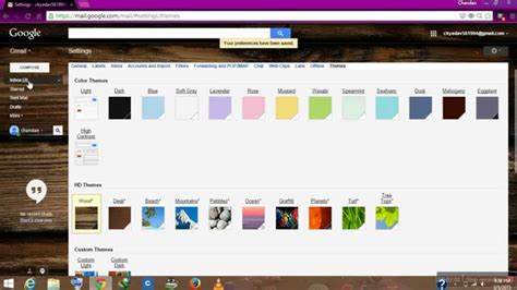 themes gmail 2015 how to change gmail themes 2015 youtube