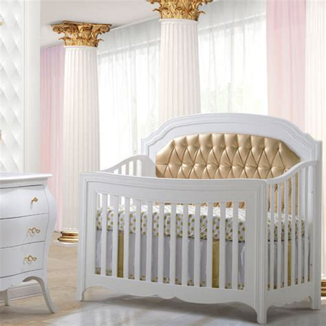Allegra Gold 5 In 1 Convertible Crib With Gold Diamond Tufted Baby Crib