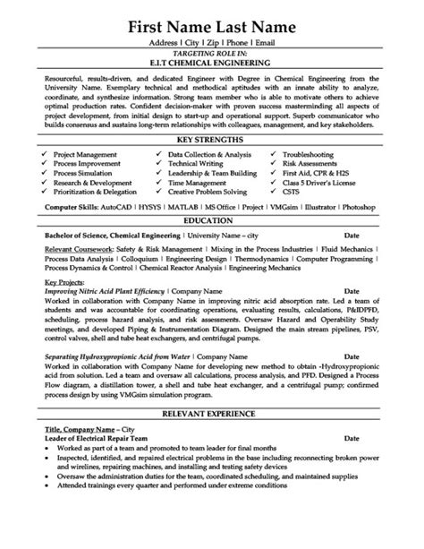 cover letter sle for experienced engineers sle resume for chemical engineering student