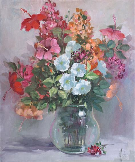 Acrylic Painting Of Flowers In A Vase by Flower Arrangement In Glass Vase 2586 Painting By Fernie Taite