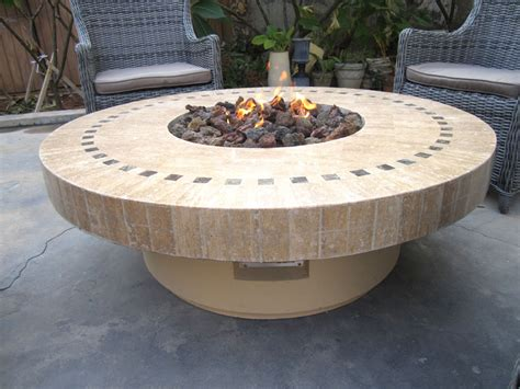 new backyard outdoor gas propane fire pit w marble mosaic