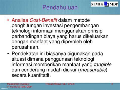 perhitungan cost benefit sederhana untuk manfaat tangible