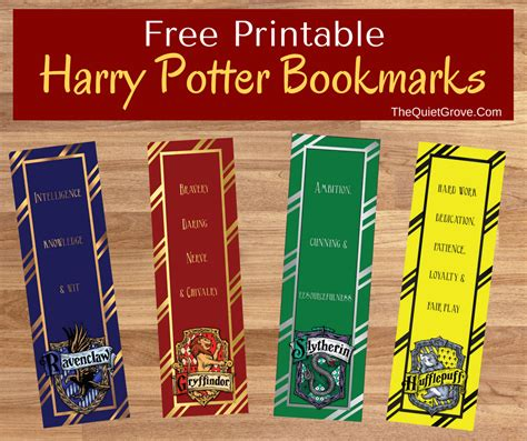 printable bookmarks harry potter free harry potter printable bookmarks the quiet grove