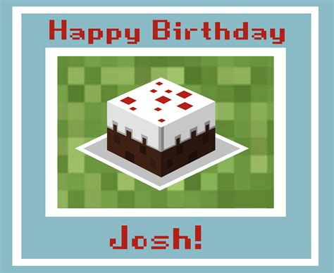 birthday card template minecraft seven blue orchids josh s birthday card