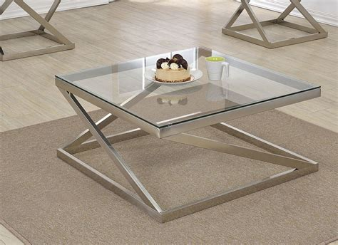 ollie brushed nickel clear glass coffee table