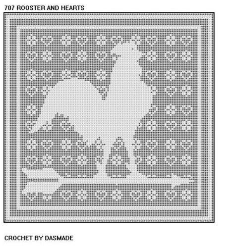 roster pattern meaning 707 rooster hearts filet crochet doily mat wallhanging