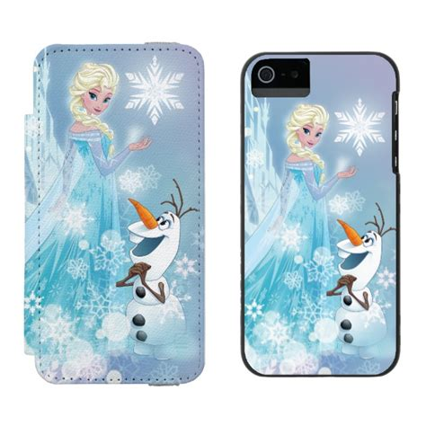 Iphone Custom 55s Frozen 2d Style frozen elsa and olaf icy glow wallet for iphone se 5 5s plus