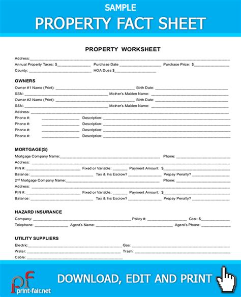 property fact sheet real estate forms