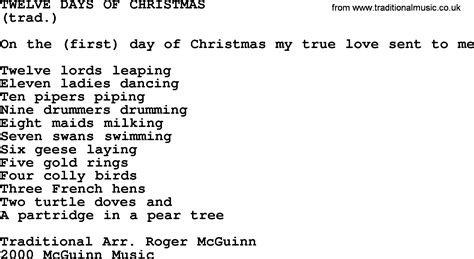 twelve days of by the byrds lyrics with pdf