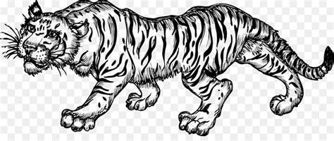 gambar animasi harimau hitam putih