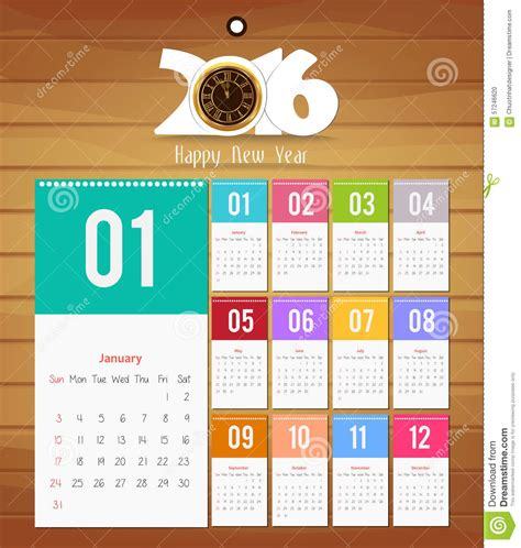 design calendar for 2016 template design calendar 2016 with paper page for months