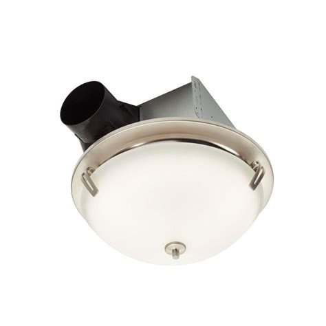 nutone exhaust fan with light nutone invent decorative satin nickel 100 cfm ceiling