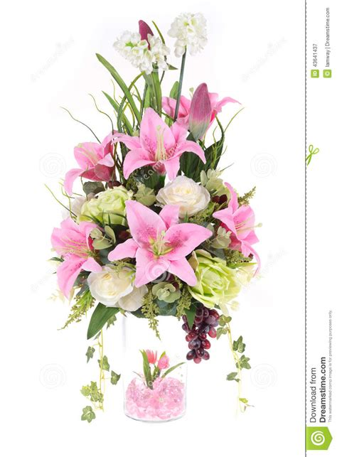 Flowers Inside Glass Vase by Decoration Artificial Plastic Flower With Glass Vase Pink