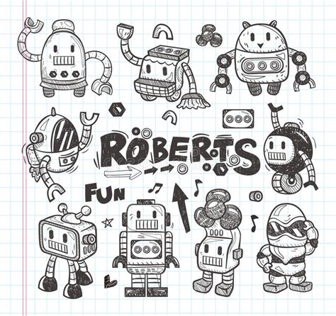 doodle drawing tools set of doodle robot icons illustrator line tools stock