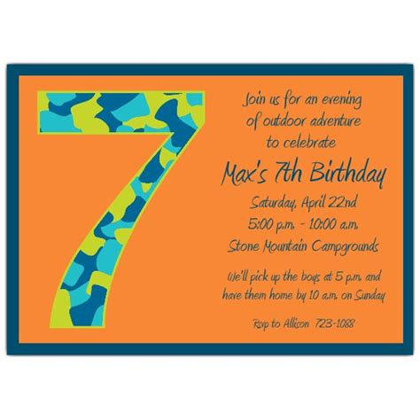 children s 7th birthday invitation wording birthday boy camo 7th birthday invitations paperstyle
