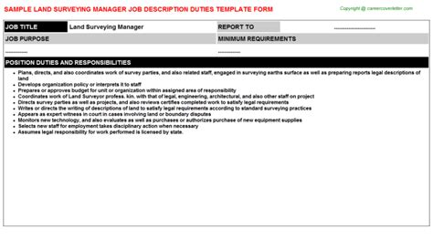 Land Surveyor Description by Land Surveying Manager Description Sle