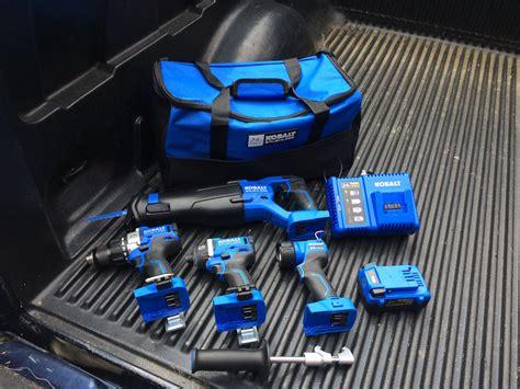 kobalt  max brushless tools combo kit brawny blue